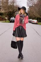black Nine West boots - black Zara hat - coral cotton on sweater