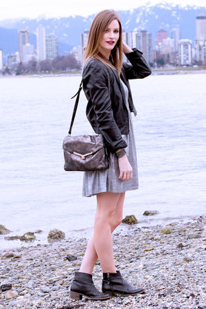 silver MinkPink dress - black Topshop boots - silver botkier bag