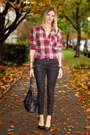 Maroon-aritzia-shirt-black-michael-kors-bag-black-coated-denim-zara-pants