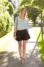 Light-blue-urban-outfitters-shirt-silver-botkier-bag-black-zara-shorts