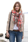 Tan-vince-camuto-boots-blue-rich-skinny-jeans-coral-topshop-scarf