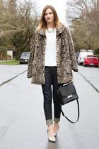 tan Urban Outfitters coat - navy rag & bone jeans - silver Nasty Gal heels
