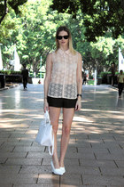 white Zara bag - black Zara shorts - white H&M wedges - peach Zara top