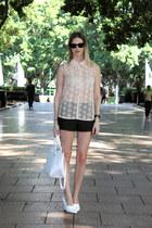 white Zara bag - black Zara shorts - white H&M wedges - peach Zara top