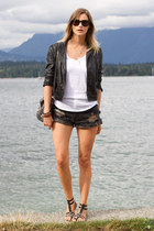 black Forever 21 jacket - dark gray One Teaspoon shorts - white Witchery t-shirt