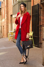 red Zara coat - blue Rich & Skinny jeans - black kate spade bag