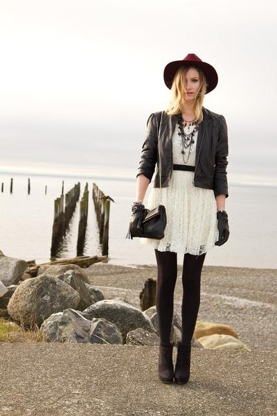 black Zara boots - off white white lace Sugarlips dress - maroon H&M hat