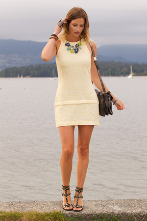 light yellow Zara dress - silver botkier bag - black H&M sandals