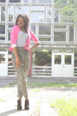 pink blazer blazer - striped tank shirt - black wedges - harem pants pants