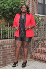 Red-one-button-forever-21-blazer-black-leather-torrid-shorts