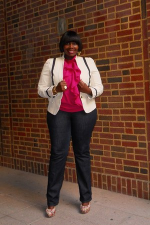 blue skinny Loft jeans - beige piping Loft blazer - hot pink ruffled banana repu