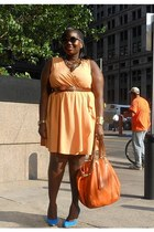 sky blue suede Charles David shoes - light orange ruffled ASOS Curve dress - car