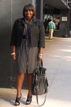 black slingbacks jessica simspon shoes - black stripes Norma Kamali dress - heat