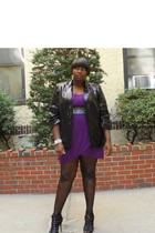 black calvin klein jacket - purple Plus SIze Fix dress - black Betsey Johnson sh