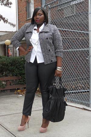 black tweed Gap jacket - white Jones NY blouse