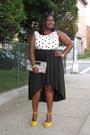 Black-hi-low-forever21-skirt-white-polka-dot-tank-loft-blouse