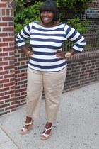 white wedges banana republic shoes - beige capris Gap pants - navy stripes H&M t
