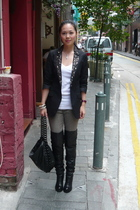 Express blazer - Zara shirt - from japan leggings - I Kamara boots - Chanel purs