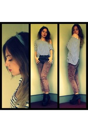 ombre diy H&M pants - lita Jeffrey Campbell boots - oversized new look shirt