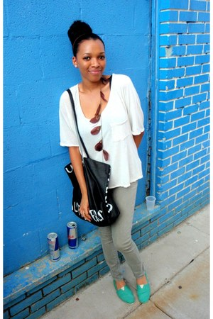 TOMS shoes - jeans - Urban Outfitters top - Aldo Accessories accessories