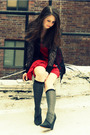 Gray-jcrew-socks-black-elizabeth-and-james-shoes-red-ali-ro-dress-black-ro