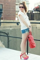 hot pink Zara heels - ivory madewell shirt - red foley & corinna bag