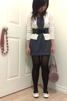 H&M stockings - PI dress - Stitches belt - cardigan - PI shoes - Nine West purse