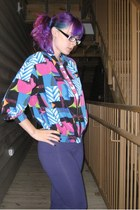 violet Goodwill jacket - purple purple tights Wet Seal leggings