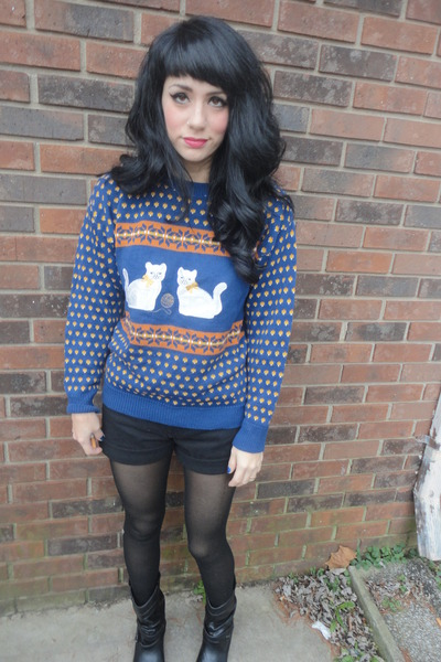 black yeehaw vintage boots - blue cats meow vintage sweater - black tights