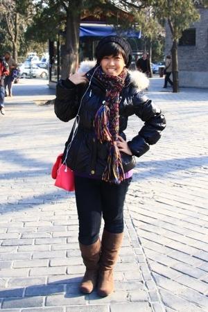 black Zara hat - brown Japan Market boots - black Beijing market jacket