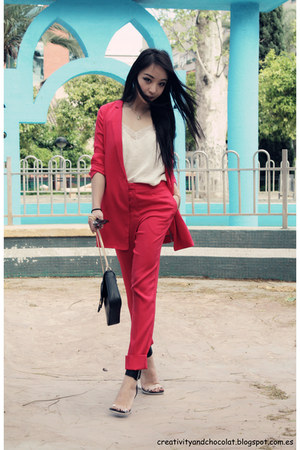 silk COS blazer - COS pants - H&M top - Jeffery Campbell sandals