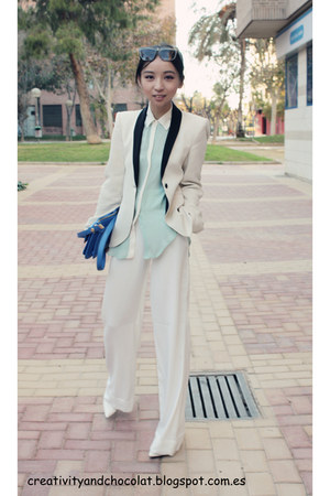 Zara blazer - blue Zara bag - mint Zara blouse - Mango pumps - Mango pants