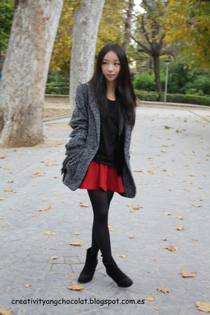 Mango coat - Zara boots - blacklace Mango blouse - burgundy Zara skirt