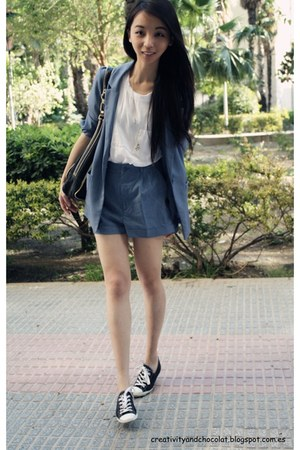 H&amp;M blazer - loewe bag - Zara top - Converse sneakers