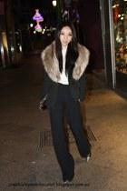 smokeing Zara blazer - faux fur H&M scarf - studded Zara purse