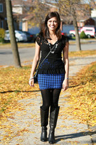 H&M skirt - Vianni Collection boots - etienne aigner bag - Anthropologie top