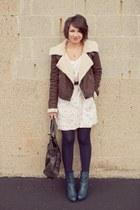 white American Eagle dress - navy Forever21 boots - dark brown Forever21 jacket