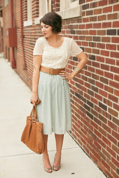 aquamarine thrifted skirt - dark khaki gold TJMaxx shoes - brown thrifted belt
