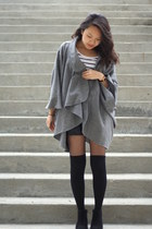 heather gray vintage cape - black Aldo boots - black Forever 21 shorts