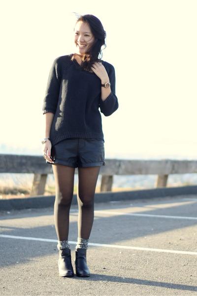 black faux leather Forever21 shorts - black asoscom boots