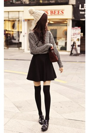 ebony skirt - Charcoal shoes - off-white hat - gray sweater - brown bag