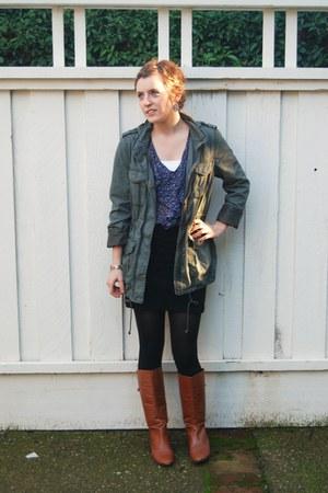 leather Steve Madden boots - parka H&M jacket - floral Forever 21 top - black H&