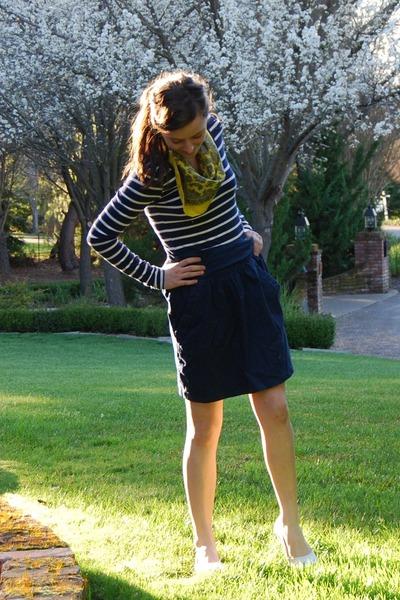 Forever 21 dress - yellow vintage scarf - navy blue Zara skirt