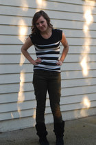 black suede Steve Madden boots - striped Lefties top - cargo Forever 21 pants -