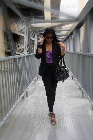 black Thrift Store blazer - purple top - black Zara pants - black shoes - black
