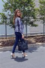 Blue-jeans-purple-h-m-blazer-black-celine-bag
