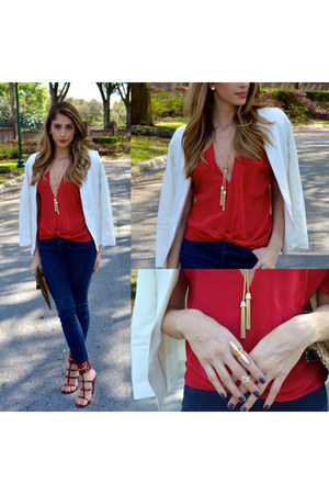 Talina Hermann top - 7 for all mankind jeans - H&M blazer - Gucci heels