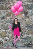 black H&M cardigan - pink talbots dress - black