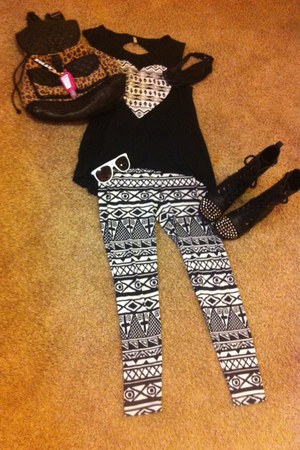 cotton Occasions shirt - Forever 21 boots - pattern swoosh tights - tillys bag