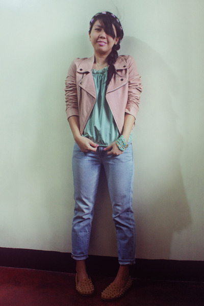 light pink leather biker jacket - light blue thrifted jeans